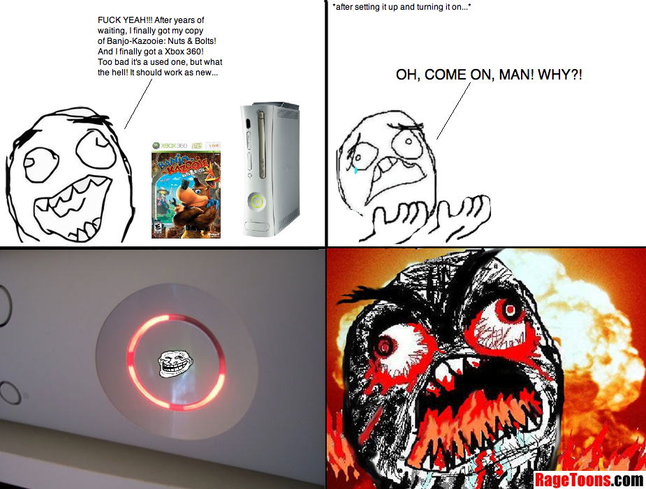 Used Xbox 360 Ring Of Death Rage